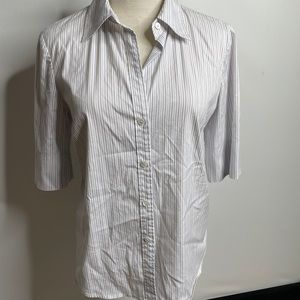 Theory slim fit stretchy shirt top M striped white